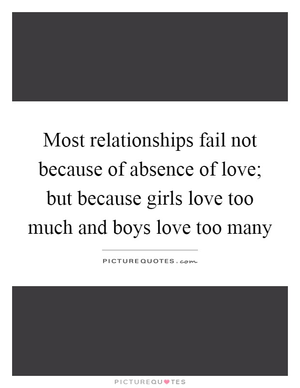 Most relationships fail not because of absence of love; but because girls love too much and boys love too many Picture Quote #1