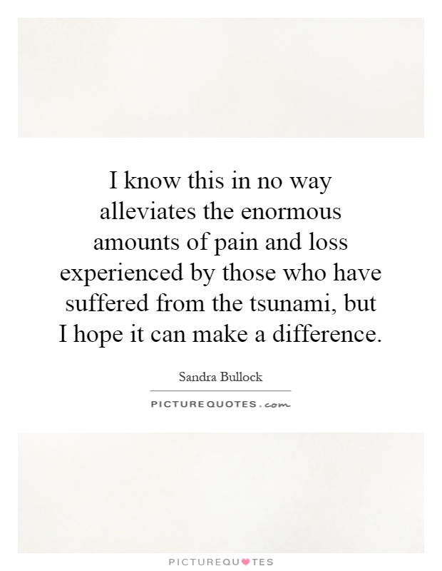 I know this in no way alleviates the enormous amounts of pain and loss experienced by those who have suffered from the tsunami, but I hope it can make a difference Picture Quote #1