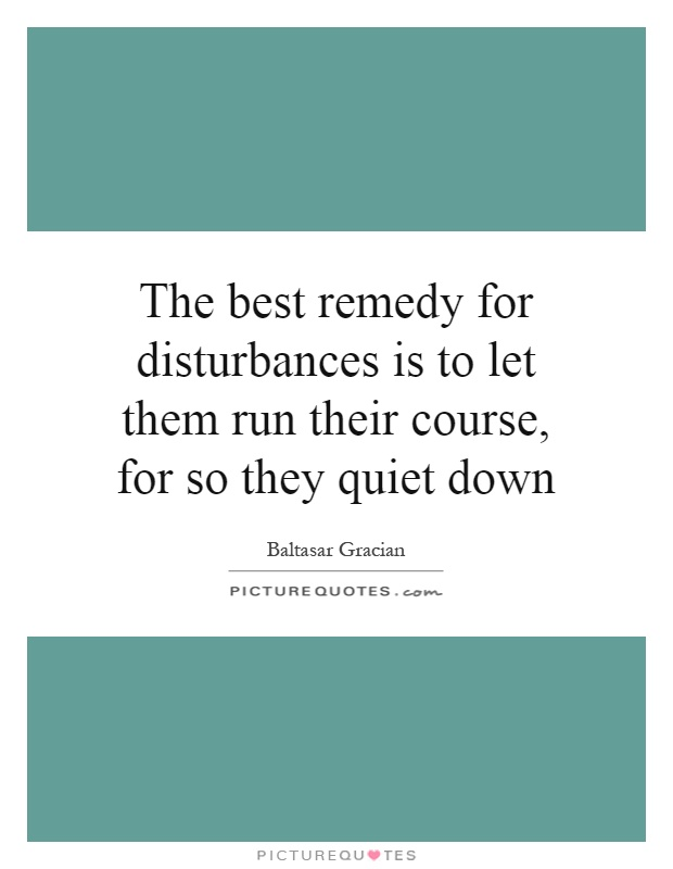 The best remedy for disturbances is to let them run their course, for so they quiet down Picture Quote #1