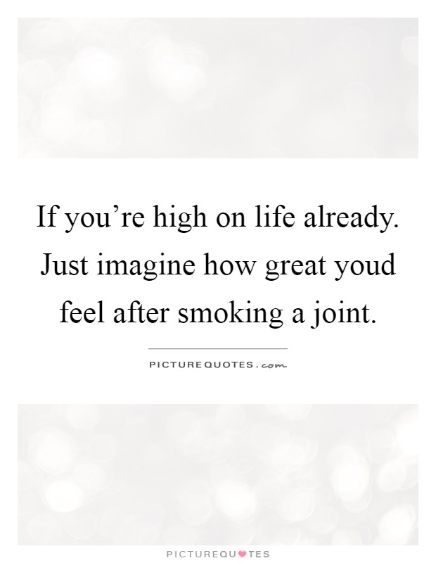 If you're high on life already. Just imagine how great youd feel after smoking a joint Picture Quote #1