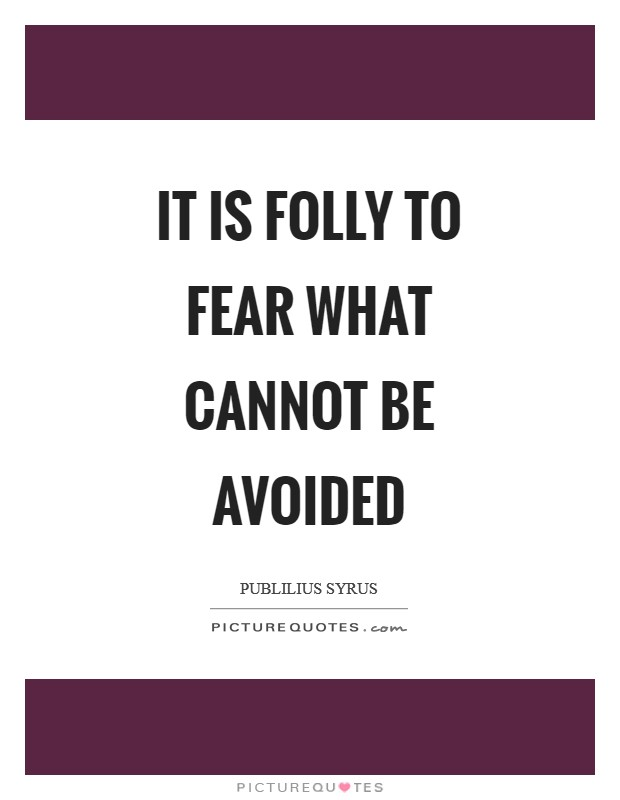It is folly to fear what cannot be avoided Picture Quote #1