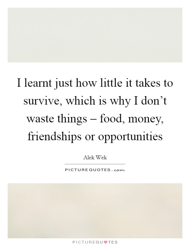 I learnt just how little it takes to survive, which is why I don't waste things – food, money, friendships or opportunities Picture Quote #1