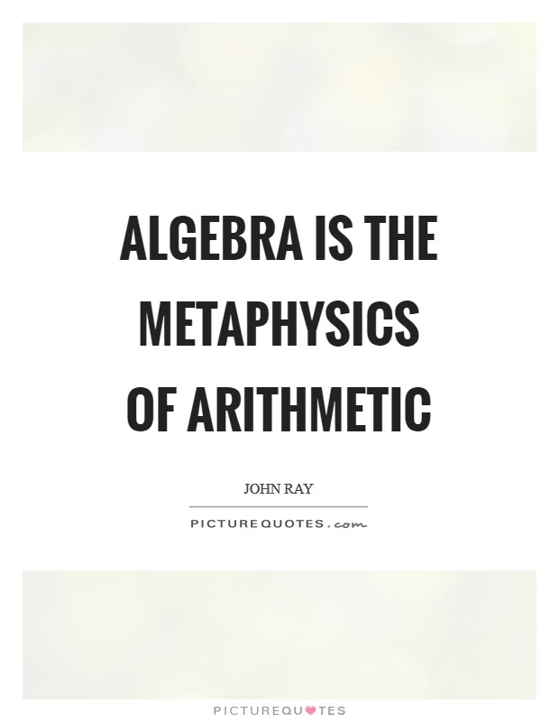 Algebra is the metaphysics of arithmetic Picture Quote #1