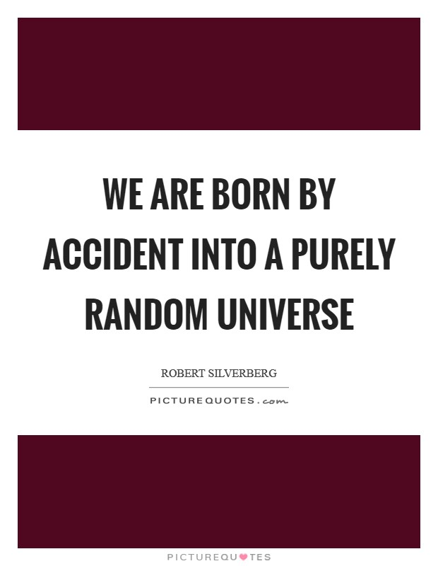 We are born by accident into a purely random universe Picture Quote #1