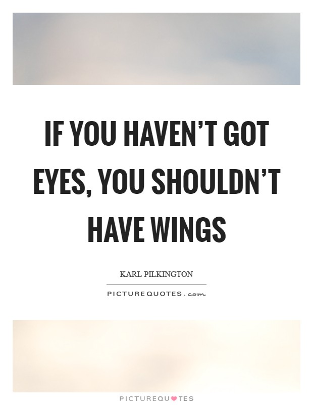 If you haven't got eyes, you shouldn't have wings Picture Quote #1