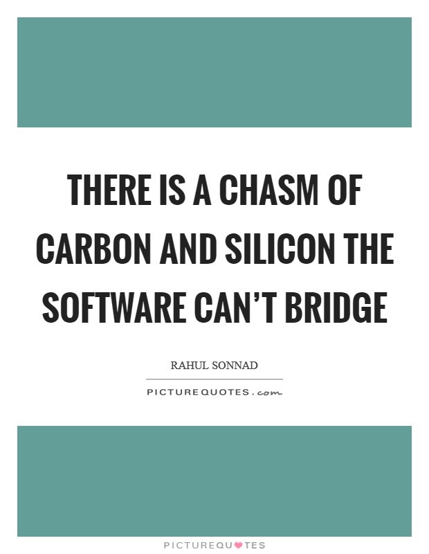 There is a chasm of carbon and silicon the software can't bridge Picture Quote #1