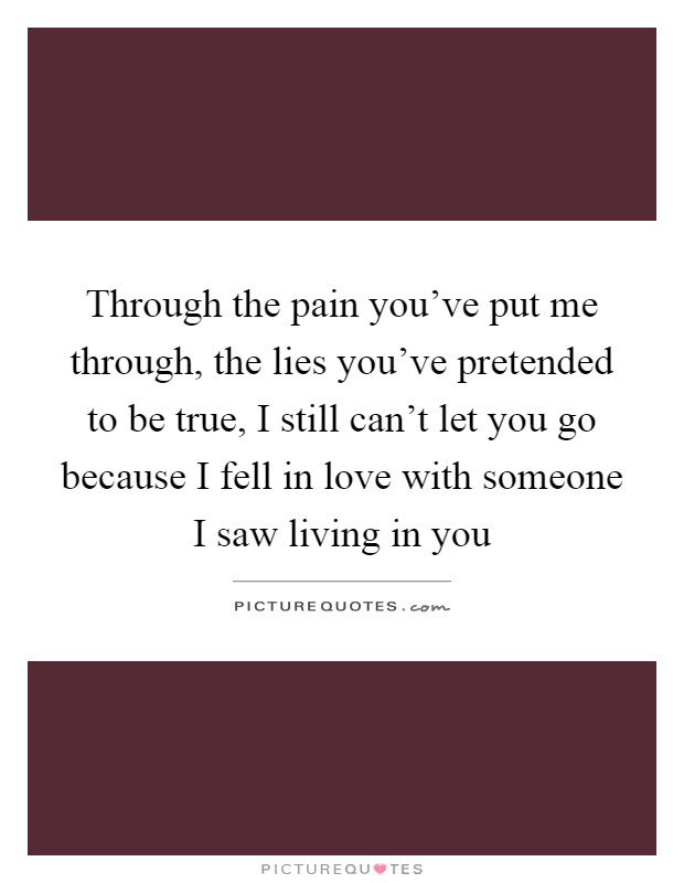 Through the pain you've put me through, the lies you've pretended to be true, I still can't let you go because I fell in love with someone I saw living in you Picture Quote #1