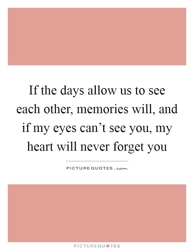 If the days allow us to see each other, memories will, and if my eyes can't see you, my heart will never forget you Picture Quote #1