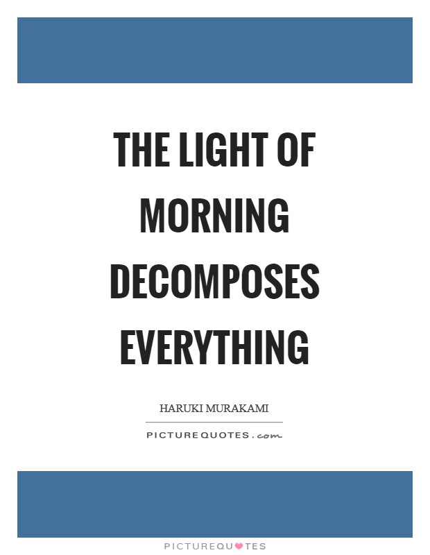 The light of morning decomposes everything Picture Quote #1