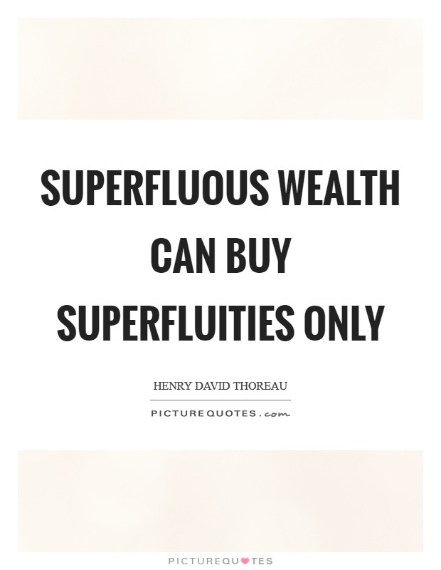 Superfluous wealth can buy superfluities only Picture Quote #1