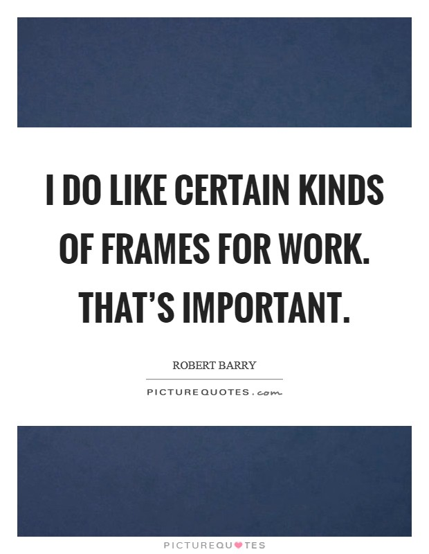 I do like certain kinds of frames for work. That's important Picture Quote #1