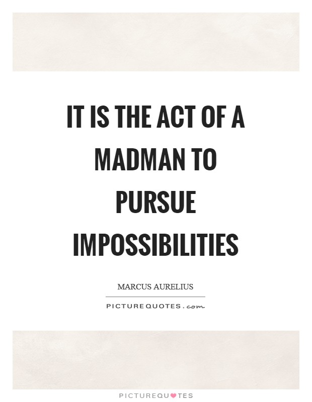 It is the act of a madman to pursue impossibilities Picture Quote #1
