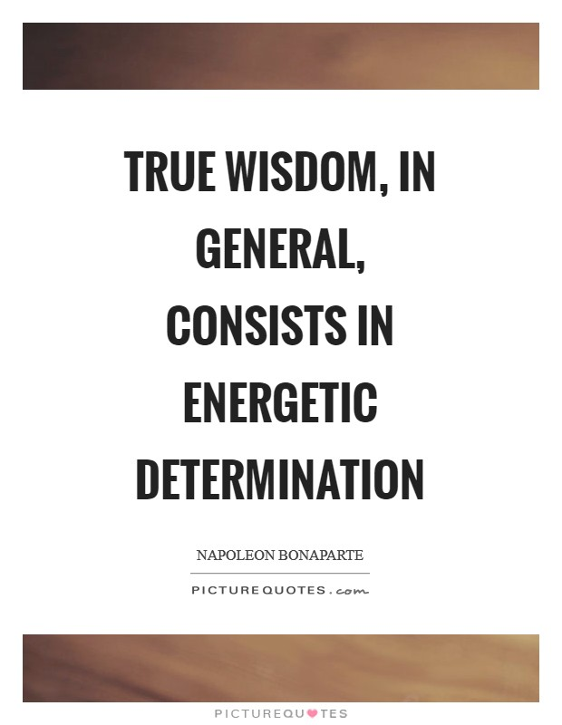 True wisdom, in general, consists in energetic determination Picture Quote #1