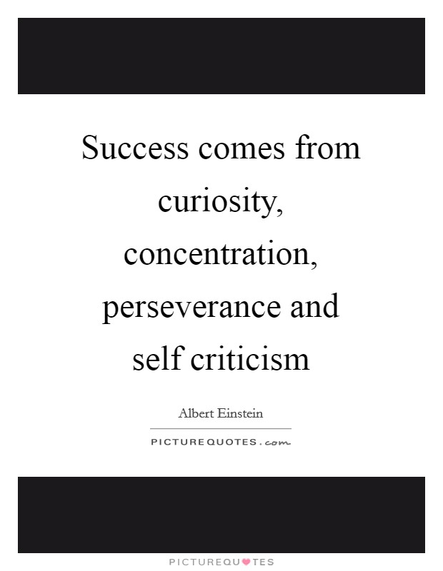 Success comes from curiosity, concentration, perseverance and self criticism Picture Quote #1