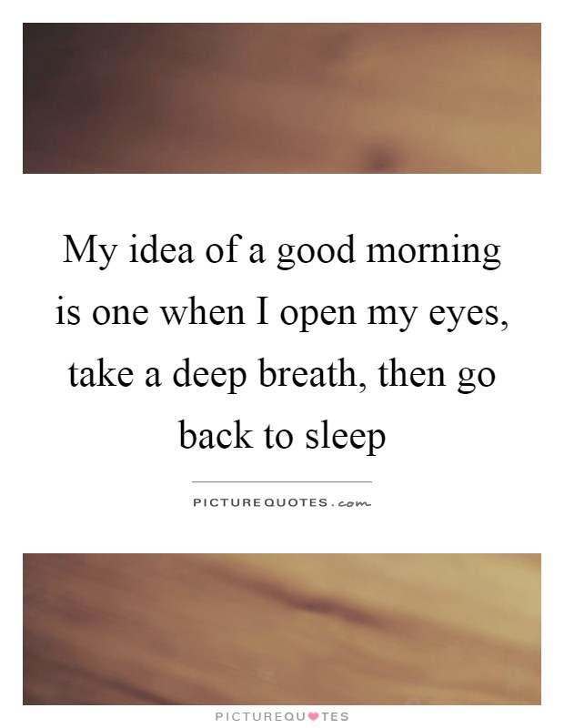 My idea of a good morning is one when I open my eyes, take a deep breath, then go back to sleep Picture Quote #1