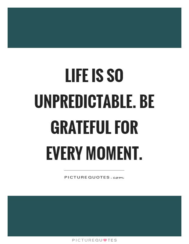 life is so unpredictable be grateful for every moment picture