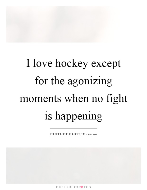 I love hockey except for the agonizing moments when no fight is happening Picture Quote #1