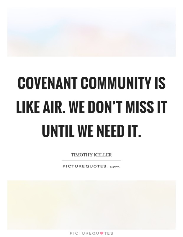 Covenant community is like air. We don't miss it until we need it Picture Quote #1