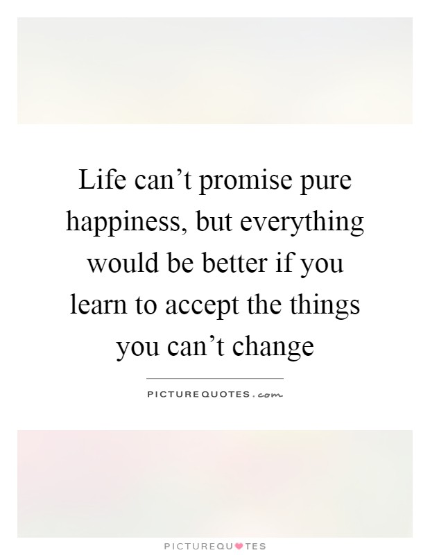 Life can't promise pure happiness, but everything would be better if you learn to accept the things you can't change Picture Quote #1