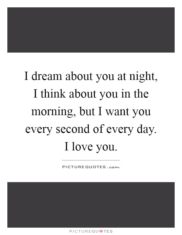 I dream about you at night, I think about you in the morning, but I want you every second of every day. I love you Picture Quote #1