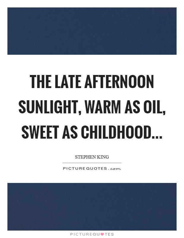 The late afternoon sunlight, warm as oil, sweet as childhood Picture Quote #1