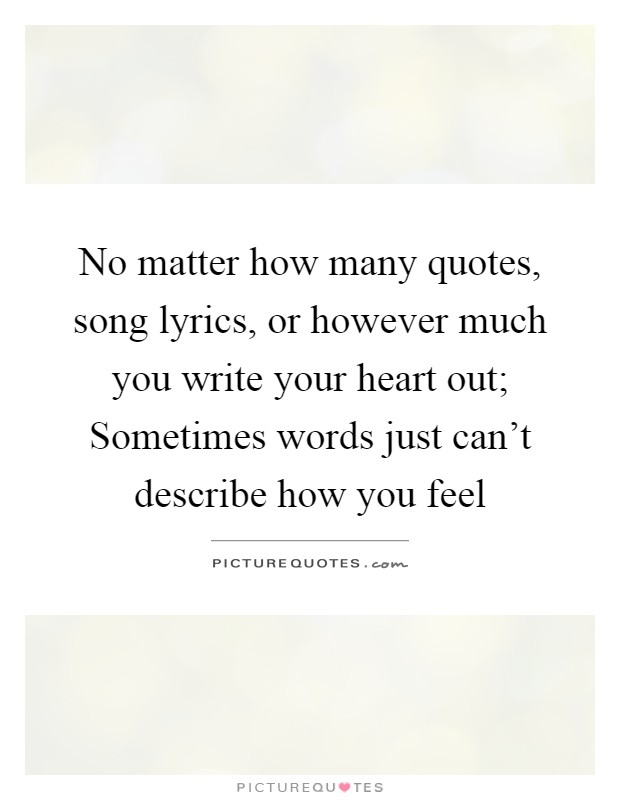 No matter how many quotes, song lyrics, or however much you write your heart out; Sometimes words just can't describe how you feel Picture Quote #1