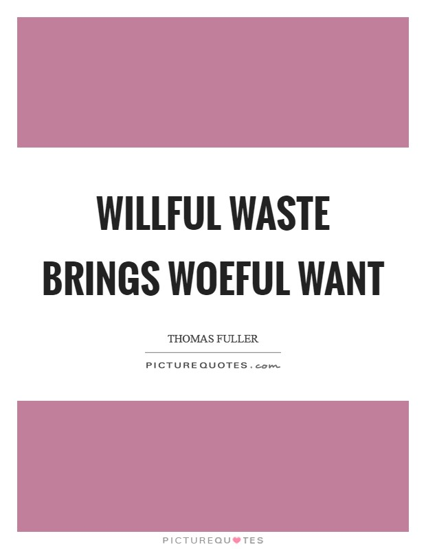 Willful waste brings woeful want Picture Quote #1