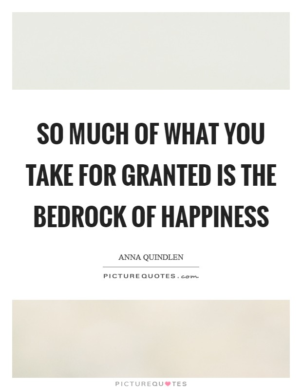 So much of what you take for granted is the bedrock of happiness Picture Quote #1