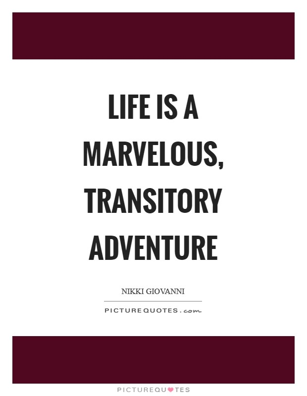 Life is a marvelous, transitory adventure Picture Quote #1