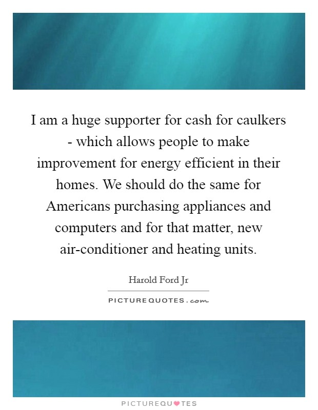 I am a huge supporter for cash for caulkers - which allows people to make improvement for energy efficient in their homes. We should do the same for Americans purchasing appliances and computers and for that matter, new air-conditioner and heating units Picture Quote #1