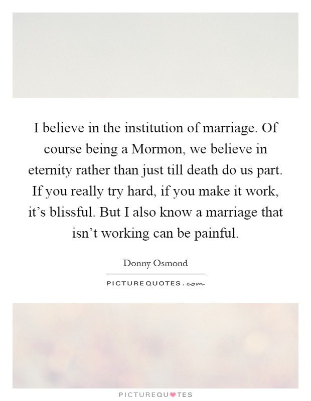 I believe in the institution of marriage. Of course being a Mormon, we believe in eternity rather than just till death do us part. If you really try hard, if you make it work, it's blissful. But I also know a marriage that isn't working can be painful Picture Quote #1