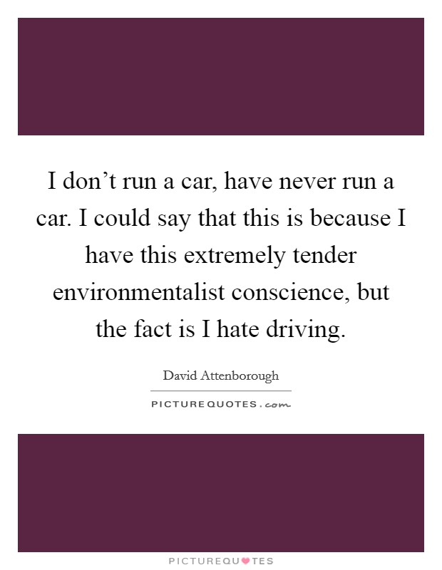 I don't run a car, have never run a car. I could say that this is because I have this extremely tender environmentalist conscience, but the fact is I hate driving Picture Quote #1