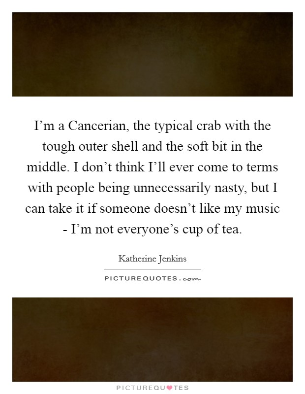 I'm a Cancerian, the typical crab with the tough outer shell and the soft bit in the middle. I don't think I'll ever come to terms with people being unnecessarily nasty, but I can take it if someone doesn't like my music - I'm not everyone's cup of tea Picture Quote #1