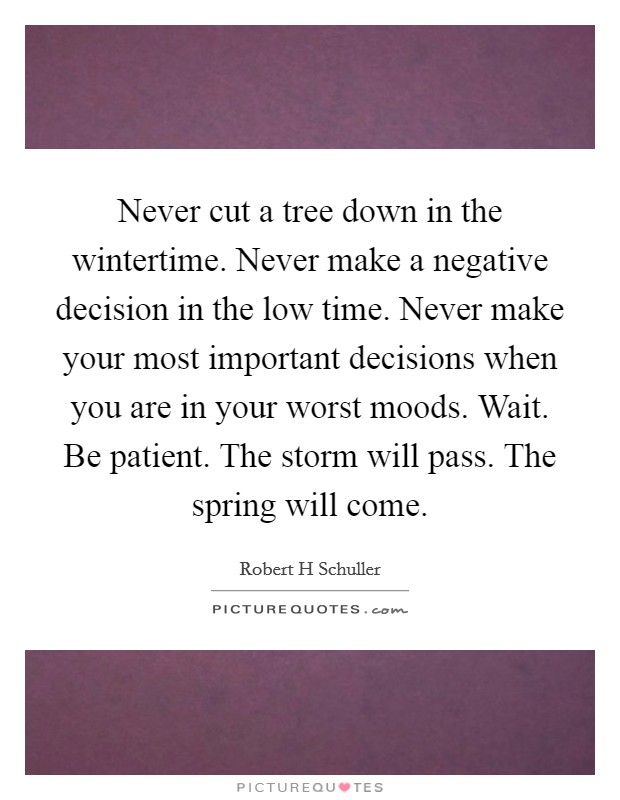Never cut a tree down in the wintertime. Never make a negative decision in the low time. Never make your most important decisions when you are in your worst moods. Wait. Be patient. The storm will pass. The spring will come Picture Quote #1