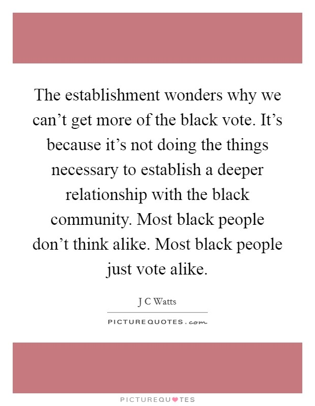 The establishment wonders why we can't get more of the black vote. It's because it's not doing the things necessary to establish a deeper relationship with the black community. Most black people don't think alike. Most black people just vote alike Picture Quote #1