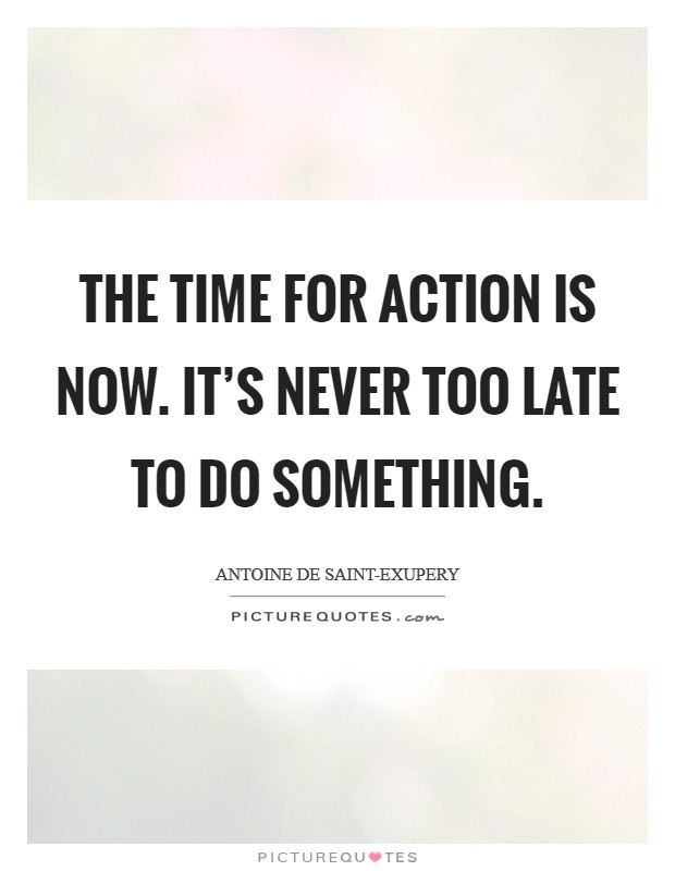 The time for action is now. It's never too late to do something Picture Quote #1