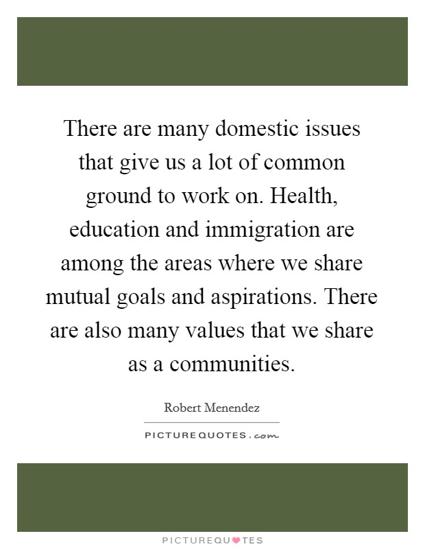 There are many domestic issues that give us a lot of common ground to work on. Health, education and immigration are among the areas where we share mutual goals and aspirations. There are also many values that we share as a communities Picture Quote #1