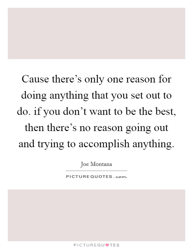 Cause there's only one reason for doing anything that you set out to do. if you don't want to be the best, then there's no reason going out and trying to accomplish anything Picture Quote #1