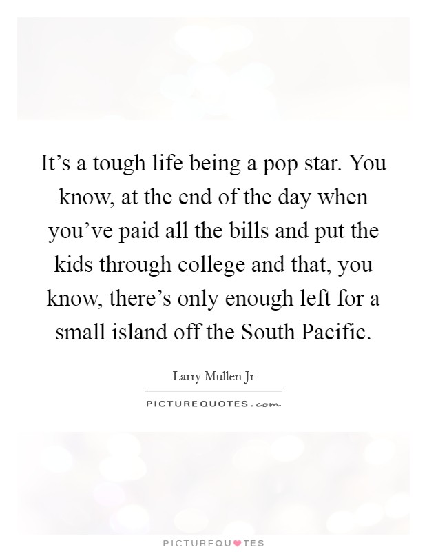 It's a tough life being a pop star. You know, at the end of the day when you've paid all the bills and put the kids through college and that, you know, there's only enough left for a small island off the South Pacific Picture Quote #1