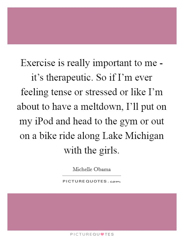 Exercise is really important to me - it's therapeutic. So if I'm ever feeling tense or stressed or like I'm about to have a meltdown, I'll put on my iPod and head to the gym or out on a bike ride along Lake Michigan with the girls Picture Quote #1