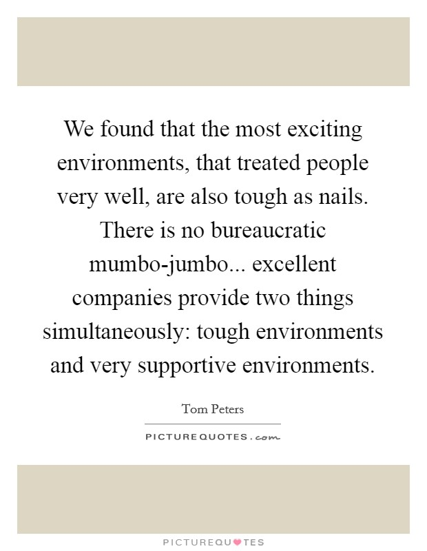 We found that the most exciting environments, that treated people very well, are also tough as nails. There is no bureaucratic mumbo-jumbo... excellent companies provide two things simultaneously: tough environments and very supportive environments Picture Quote #1