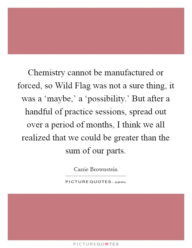 Chemistry cannot be manufactured or forced, so Wild Flag was not a sure thing, it was a 'maybe,' a 'possibility.' But after a handful of practice sessions, spread out over a period of months, I think we all realized that we could be greater than the sum of our parts Picture Quote #1