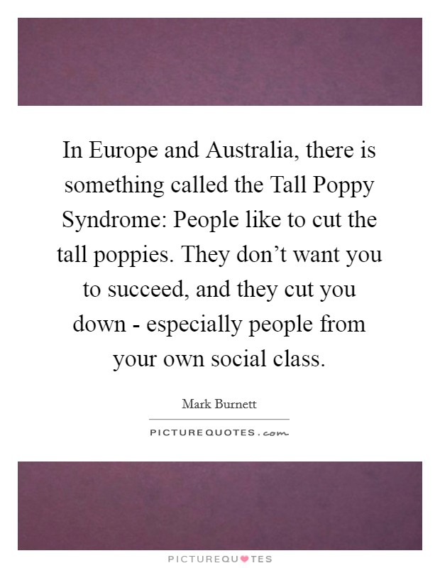 In Europe and Australia, there is something called the Tall Poppy Syndrome: People like to cut the tall poppies. They don't want you to succeed, and they cut you down - especially people from your own social class Picture Quote #1