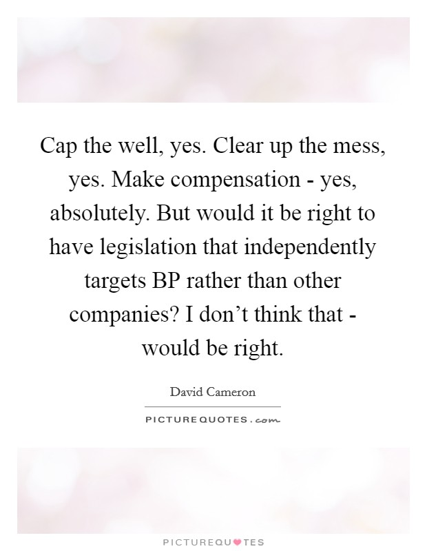 Cap the well, yes. Clear up the mess, yes. Make compensation - yes, absolutely. But would it be right to have legislation that independently targets BP rather than other companies? I don't think that - would be right Picture Quote #1