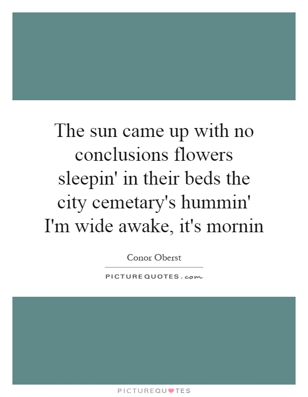 The sun came up with no conclusions flowers sleepin' in their beds the city cemetary's hummin' I'm wide awake, it's mornin Picture Quote #1