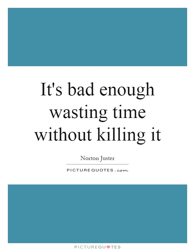 It's bad enough wasting time without killing it Picture Quote #1