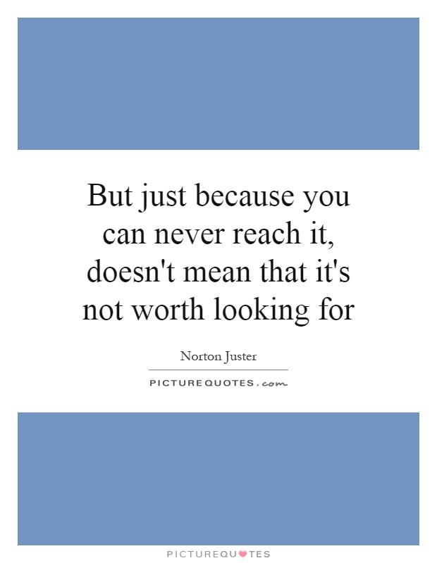 But just because you can never reach it, doesn't mean that it's not worth looking for Picture Quote #1