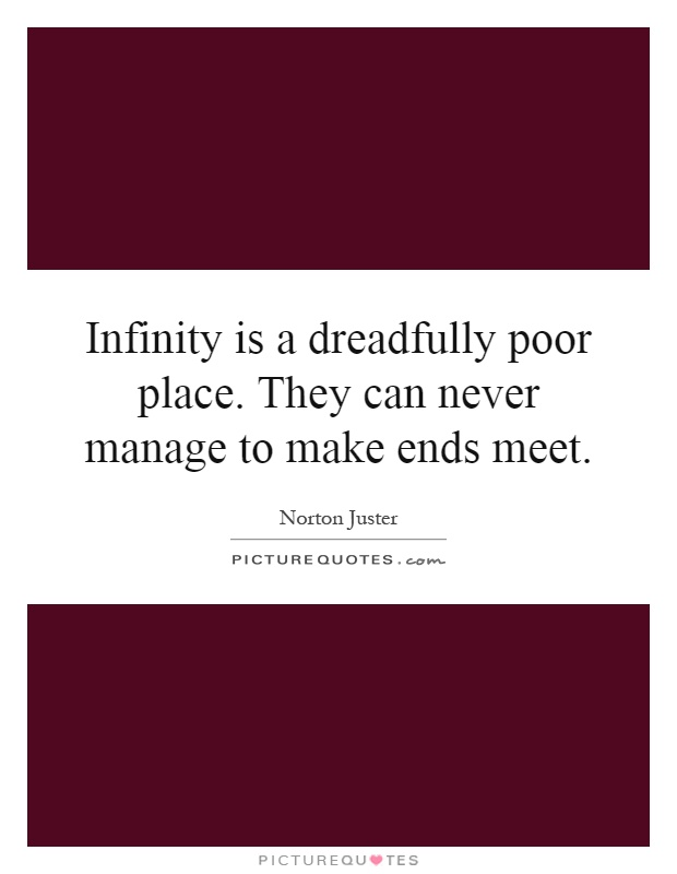 Infinity is a dreadfully poor place. They can never manage to make ends meet Picture Quote #1