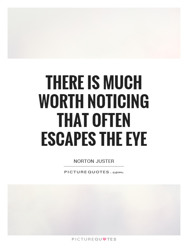 There is much worth noticing that often escapes the eye Picture Quote #1