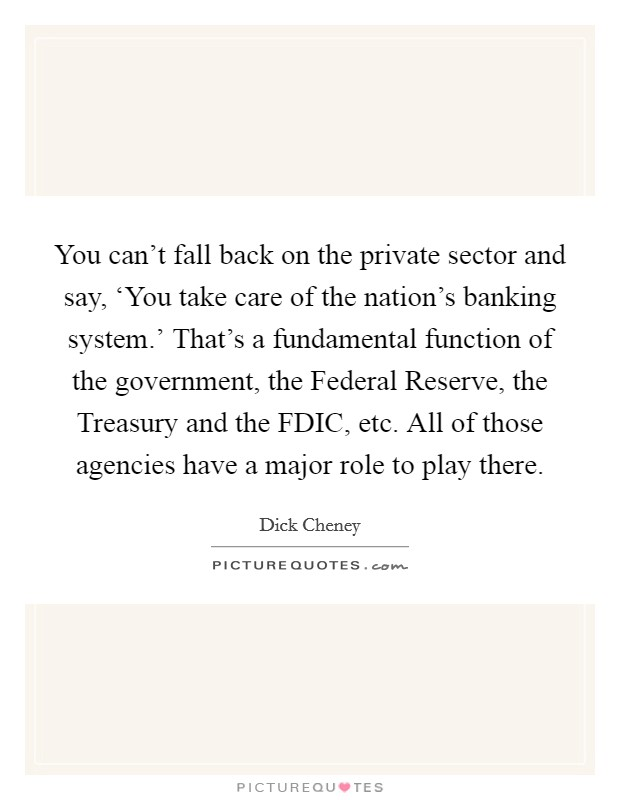 You can't fall back on the private sector and say, 'You take care of the nation's banking system.' That's a fundamental function of the government, the Federal Reserve, the Treasury and the FDIC, etc. All of those agencies have a major role to play there Picture Quote #1